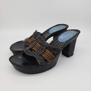 Indigo By Clarks Black Leather Heel Platform Slide